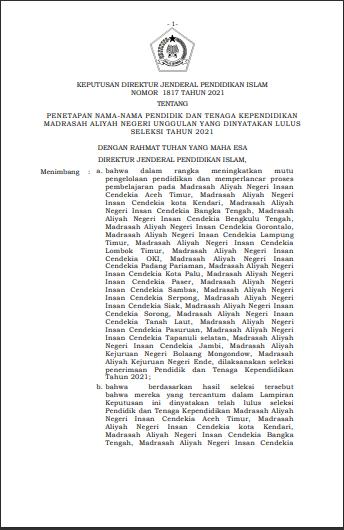 Penetapan Nama-Nama Pendidik Dan Tenaga Kependidikan Madrasah Aliyah Negeri Unggulan Yang Dinyatakan Lulus Seleksi Tahun 2021